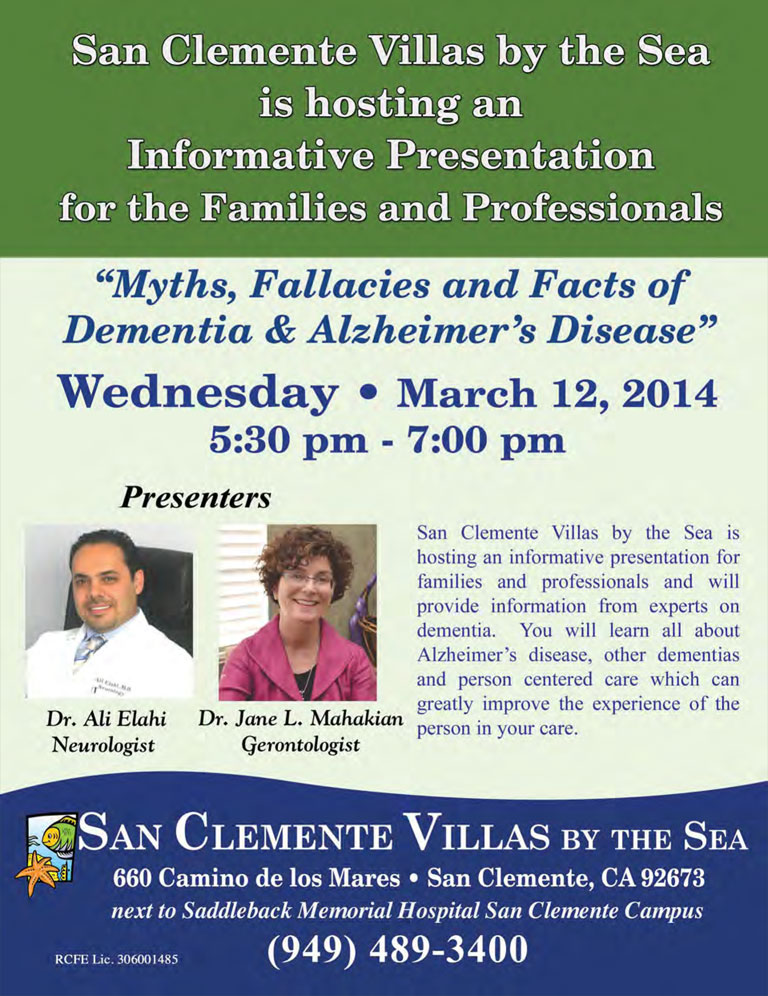san clemente villas seminar on Alzheimers and Dementia