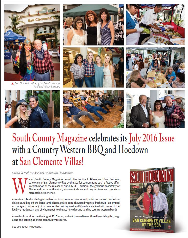 Aileen Brazeau featured in South Coundy Magazine July edition 2016, Aileen Brazeau co-owner of San Clemente Villas